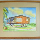 Painting Architectural Vintage Mid Century Modern Tropical Beach House Brion