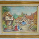 Naive Vintage Painting Colonial Village Stage Coach Stop Voyagers Freedman