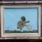 Vintage Folk Painting Turtle Playing Tennis Wearing Sneakers Gilded Frame Joyce