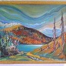 Northland Landscape Original Painting Mountains Lake Folk Art  Uwe Ramputh 94