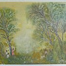 Vintage Impressionist Folk Art Naive Painting Black Fruit Pickers Pritzker 1979