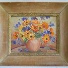 Impressionist Vintage Painting Floral Still Life Wildflowers Dramatic Frame Saul