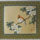 Ornithology Vintage Chinese Painting  Bird Flower Branch Wood Block Mat Framed