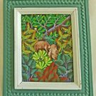 Vintage Haitian Painting J Geolin Pigs Foraging Tropical Forest Landscape Frame