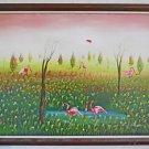 Impressionist Ornithology Vintage Haitian Painting Pink Ibiis Wading Sanon