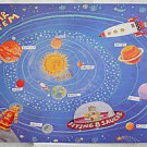 Vintage Art Folk Outsider  Painting Solar System Robot Flying Saucer Space Ship