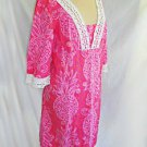 Caftan Lilly Pulitzer Pink Lace Dress Vintage Pineapple Print Cover Up  10