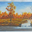 Naive Folk Art Vintage Painting Landscape Waterfall Fiery Autumn Fall Groold