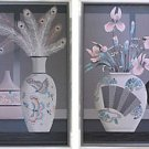 Painting Serigraph Franco Pair Set 2 Massive Still Life Flowers Modernist Grays