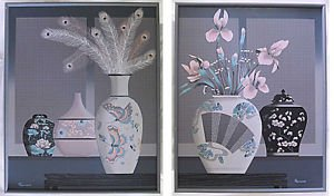 Painting Serigraph Franco Pair Set 2 Massive Still Life Flowers Modernist Grays