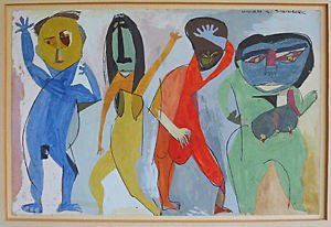 Nude Anique Painting Geometric Surfboard Head Dancers Vivian S Steinberg 1947