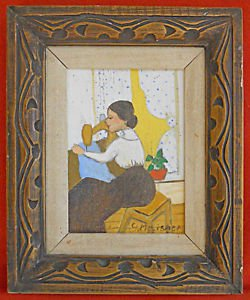 Folk Art Naive Painting Victorian Woman Vintage Sewing Machine G. Morischer