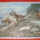 Vintage Folk Art Western Cowboy Hunting Bear Painting Naive  Landscape Yosemite