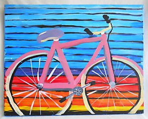 Vintage Folk Art Outsider Naive Painting Close Up Oversize Pink Bicycle Big Ed