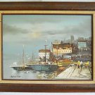 Naive Vintage Moody Painting Boat Harbor Town Work Sailboats Quay Women Searing