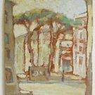 Modernist Vintage Painting Mario Petri Old Street Italy Romantic Kiosk Trees