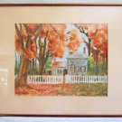 Vntage Painting Watercolor Stone House Washington Headquaters Alison Snider 1992