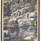 Painting Vintage Landscape Western Bold Rocky Cliff Pool Swimming Hole Borish