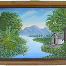 Haitian Painting Gibella Dumas Impressionist Tropical Landscape Mountains Shack