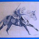 Vintage Original Drawing On The Track Race Horse Jockey Running Modern  Bradford