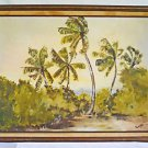 Vintage Folk Painting Florida Landscape Everglades From Inside Hammock Reace