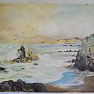 Vintage Original Seascape Western Painting California Dawn Rocky Coast Wave Cici