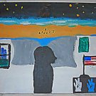 Outsider Folk Naive Painting Cubans Walking Ashore American Flag Yin Yang Hands