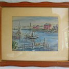 Vintage Watercolor Painting Mid Century Naive Harbor Cove Boats Marine Mars 55