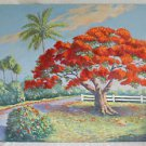Folk Art Vintage Painting Florida Tropical Flamboyant Along Old Highway Mergen
