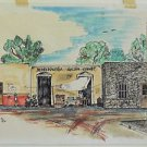 Mexico Vintage Original Watercolor Painting Refresqueria Jail Vendors Schmid 88