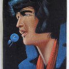 Vintage Painting Black Velvet Elvis Crying Sweating Concert Microphone Rock R