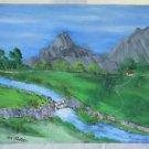 Naive Folk Art Painting Grand Tetons Snake River Wyoming Western Ira Austin