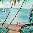 Vintage Folk  Painting Santo Domingo New Zealand ELSA Tropical Palms Ocean Boat