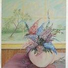 Lilacs Painting Vintage  DH Sprengart Flowers Window Spring Scene Still Life 87