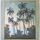 Folk Art Tropical Vintage Painting Thru Palms To beach Ocean Sunrise Birds Mills