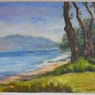 California Folk Art Lake Tahoe Painting Western Plein Air Regatta Sailboats Owen