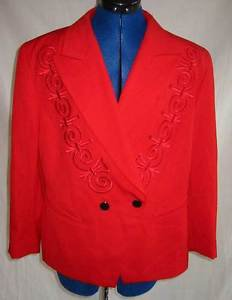 Vintage 80s Tuxedo NOS Escada Jacket Embroidered Red Wide Lapel Deadstock 42
