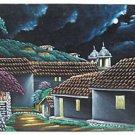 Vintage Black Velvet Painting Lee Moonlight Night Landscape Barrel Tile Roofs