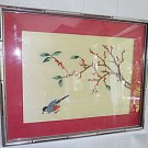 Vintage 50s Oriental Asian Silk Embroidery Ornithology Bird Pecking Fruit Framed