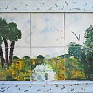 Vintage Southern Outsider Folk Florida Tiles Painting Dicker Everglades Hammock