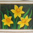 Folk Art Naive Vintage Original Painting Yellow Daffodils Still Life Hamilton 87