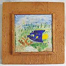 Vintage Southern Outsider Folk Tile Painting Tropic Angel Fish Framed Dicker