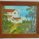 Vintage Original Architectural Seascape Painting Villa by the Sea Marsapita
