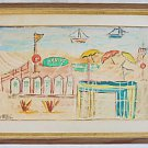 Modernist Vintage Watercolor Painting M Petri Italy Beach Resort Livorno Summer