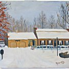 Vintage Folk Art Naive Painting New Jersey House Portrait Ranch Snow Beitler 70s