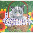 Folk Art Naive Outsider Painting Gray Cat in Basket Sunflowers Ashley Friday