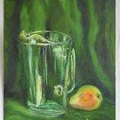 Folk Art Vintage Painting Still Life Pitcher Pear Elmore Dammofall Shadows Green