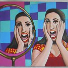 Double Scream Woman Vintage Original Outsider Street Folk Painting Realism Alex