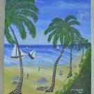 Folk Art Naive People Tropical Caribbean Beach Vintage Haitian Painting Chirspin