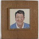 Folk Art Political Ronald Reagan Vintage Southern Outsider Tile Painting Dicker